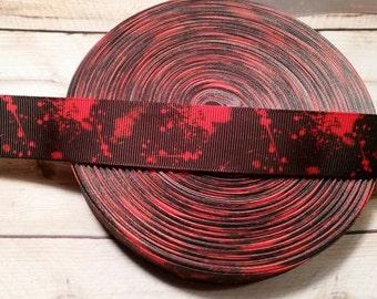Blood Splatter Grosgrain Ribbon, Horror ribbon