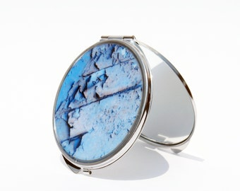 COMPACT MIRROR - Domino Sugar Factory -  Custom - Pocket Mirror - Blue