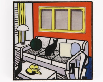 Black Cat Magnets, Cat Art, Roy Lictenstein Parody, Refrigerator Magnet, Fridge Magnets, Kitchen Magnets, Cat Artwork, Deborah Julian