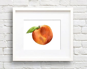 Peach - Art Print - Kitchen Art - Wall Decor - Watercolor Painting