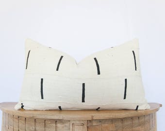 14X24 Authentic African Mudcloth Lumbar Pillow Cover