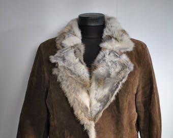 Vintage SUEDE LEATHER women's parka with rabbit fur coat................(435)