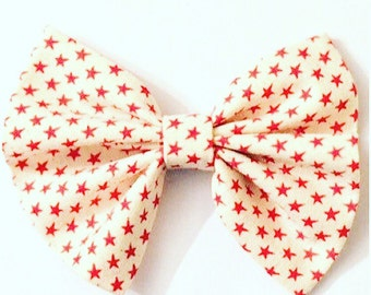 star bow, red bow, white bow, gift for her, birthday gift, chritmas barrette, wedding bow, 4 inch bow, baby show gift, big bow, small bow,