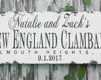 CLAMBAKE SIGN | Personalized | Wedding Sign | Name Sign | Distressed Sign | Wedding Decorations | Party Decorations | Picnic Sign | Rustic