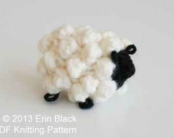 """DIY Knitting PATTERN - Chunky Knit Sheep Toy Ornaments, 2 sizes (approx. 3"""" and 5"""")"""