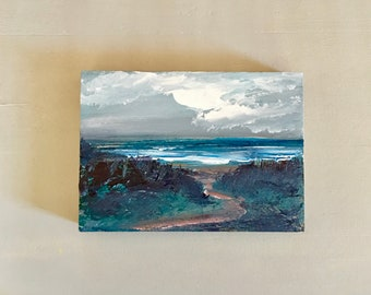 5 x 7  Beach Painting -Original - Cradled Gesso Panel - 3/4 inch natural wood edge- Ready to Hang