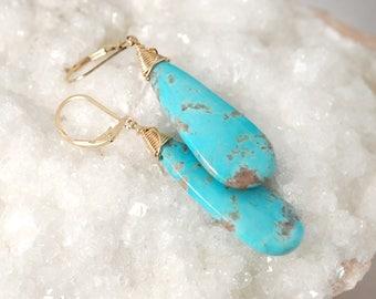 AAA Kingman Turquoise earrings, Real Turquoise jewelry, Fine Turquoise earrings, Sleeping Beauty Turquoise earrings, Natural Turquoise