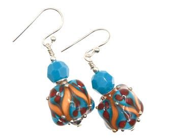 Colorful Lampwork Earrings, Multicolor Turquoise Earrings, Gift for Her, Floral Drop Earrings, Glass Bead Jewelry, Artisan Abstract Earrings