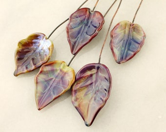 Lampwork Beads, Headpins, Glass Leaf Head Pins,  Headpin on 20Ga Antique Copper Wire, Purple, Green, Blue, Brown, Leaves