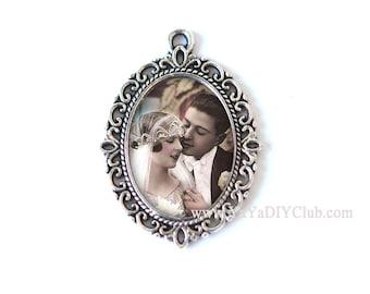 Custom Photo Bouquet Charm, Wedding Bouquet Charm, Victorian Style Bridal Charm, Bridal Bouquet Charm,  Memory Charm, Custom Photo Pendant
