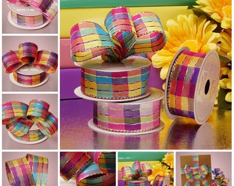 1 1/2 inch wide Plaid Horizontal Stitch Ribbon price for 1 yard