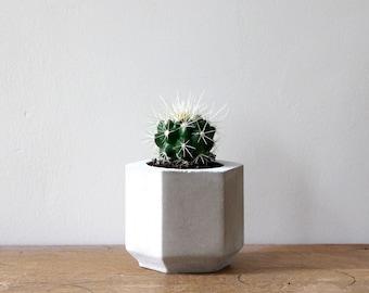 Small Hexagon Cement Planter perfect for a Cactus or Succulent Plant // Concrete Plant Pot - Handmade