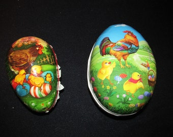 "Vtg Lot 2 Easter Paper Mache Eggs Candy Containers Chicken Rooster Germany 7.5"" 5.5"""