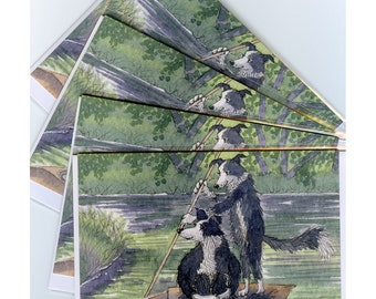 4 x Border Collie dog greeting cards - messing about on the river