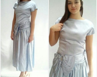 80s Tulle Prom Dress / Metallic Blue / cummberbund / US 8