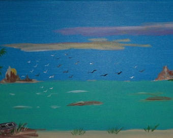 Birds In Flight Over Lake Painting