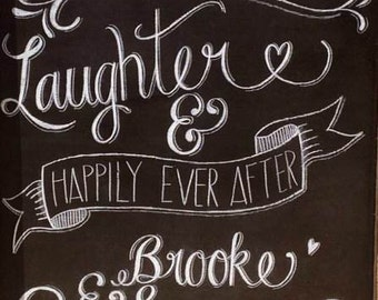 Love and Laughter wedding chalkboard sign.