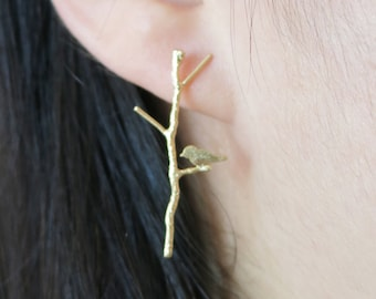 Love Birdies on Twig Long earrings in gold or silver  - Gold jewelry, garden party, best friends sister mother gifts
