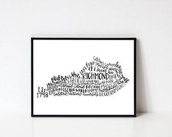 hand lettered RICHMOND Kentucky Word Art Print // 8x10
