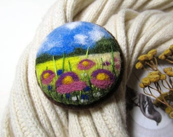 Flower brooch Embroidery felt brooch Gifts for woman Felted landscapes Embroidery wool mom gift Art brooch Floral fashion rustic brooch