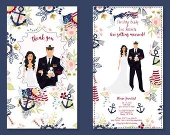 Wedding Invitation Portrait From Photo, Custom portrait, Engagement, Couple Portrait, Printable, Save The Date, Wedding, Invitation