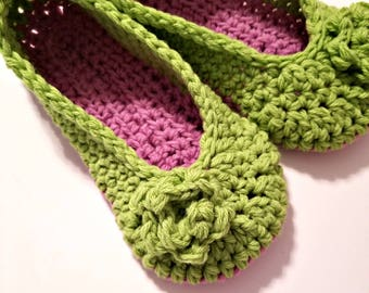 Crochet slippers in pink and lime green with rose, soft house shoes, womens slippers, GREAT GIFT
