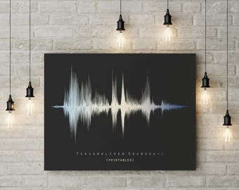 Personalized Soundwave Print, Sound Wave Printable, Personalised Voice Art, Song Music Heartbeat Voice Fathers Day Mothers Day New Baby Gift