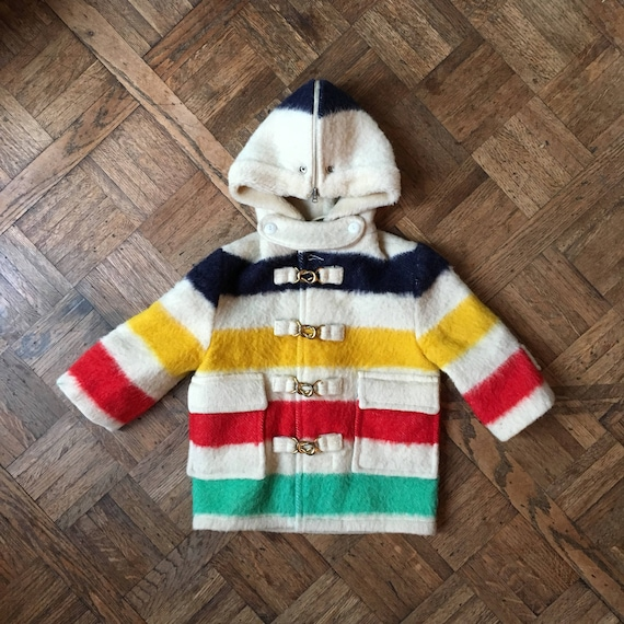 Vintage Children's Jacket, Hudson Bay Point Blanket Jacket, Vintage Hudson Bay Coat, Vintage Kids Jacket, Vintage Kids Clothes