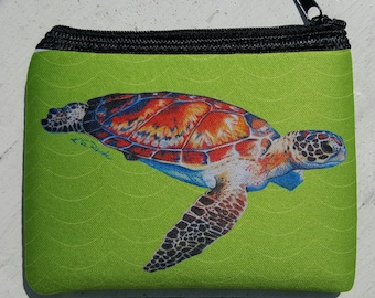 Speedy Sea Turtle on apple green art Coin Purse zippered pouch neoprene