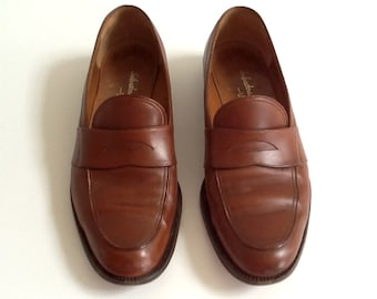 Vintage Ferragamo Women's Brown Leather Loafers, Women's Size 9 B, Made in Italy, Ferragamo Leather Penny Loafers, Designer Shoes