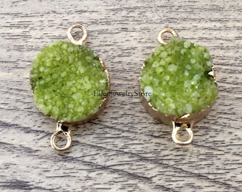 Charming 1Pcs 20mm Apple Green Agate Round Druzy Drusy Druzzy Slice Electroplated 24K Gold Plated Double Bail Connector-TR180