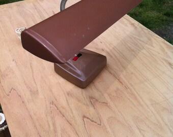Vintage Metal Industrial Desk Gooseneck Table Lamp Brown Steampunk