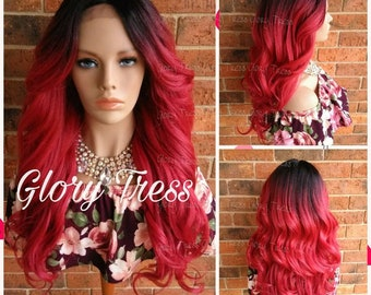 ON SALE// Celebrity Inspired Hairstyle, Custom Romance Curly Lace Front Wig, Ombre Red Wig, Yaki Texture // LOVE (Free Shipping)