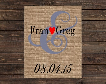 Personalized Burlap Print Wall Sign Home Decor Wedding or Anniversary Gift (#1370B)