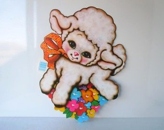 Large Vintage Easter Decorations Beistle Spring Baby Lamb Flowers