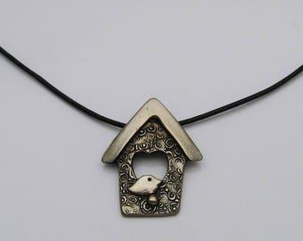 Dark Silver Colored Bird House Necklace, Bird Jewelry, Birdhouse Jewelry, Rustic Metal Jewelry, Black Leather Cord Necklace, Bird Lover