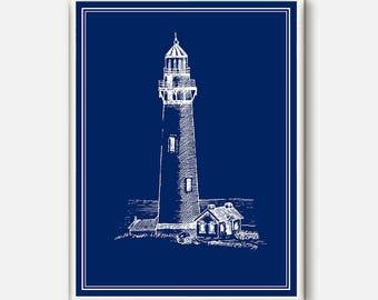 Nautical Poster, Lighthouse Art, Ocean Wall Art, Beach Decor, Lighthouse Decor, Home Art, Nautical art, Coastal wall art, Blue  Wall Art