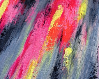 Neon Bright Sister Original Abstract Painting on canvas framed, Abstract Art, Modern Art, Abstract Painting, Home Decor, Wall Art