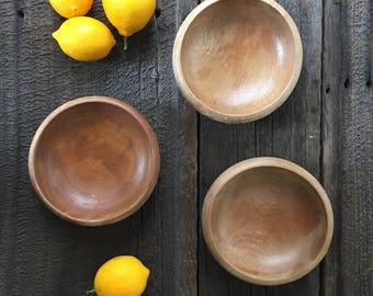 Vintage set of 3 wooden bowls