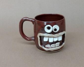 Valentine's Day Big Beer Mug. Happy Face. Unique Tea Drinker Lover Gift Coffee Cup. Brick Red Brown Attitude Mug. Stoneware Pottery Mug.
