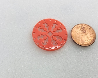 Acrylic Laser Cut Round Pendant 27mm Coral