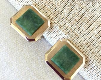 Faux jade cufflinks