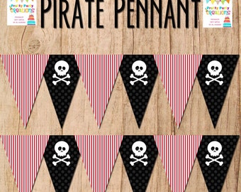 PIRATE SKULL PENNANTS - You Print - instant download