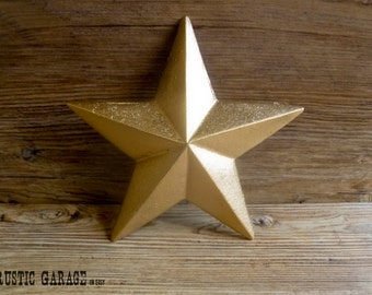 """METALLIC GOLD - Handpainted Cast Iron Texas Star Wall Hanging - 7.5"""" Metal Star Wall Decor - Patriotic Nautical Rustic Country Home Decor"""