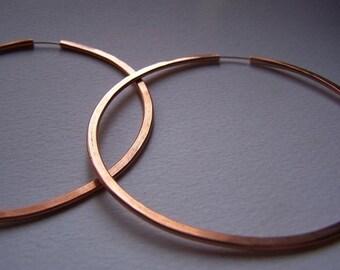 Copper Hoop Earrings - XL 3 inch hoops