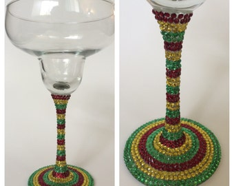 Cinco de Mayo Rhinestone Margarita Glass