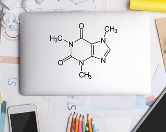 Caffeine Molecule, Laptop Decal, Science Stickers, Science Decal, Laptop Stickers, MacBook Decal, Laptop Sticker, Mac Decal