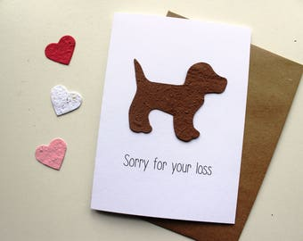 Sorry for your loss- (choose cat, dog, paw print seed paper shape) - 16 seed paper colors- pet sympathy, rainbow bridge, loss of a pet