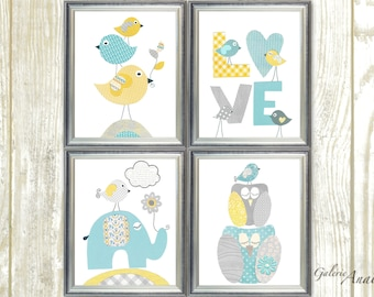 Aqua yellow blue and gray Nursery Art Print nursery art baby nursery kids art love Birds elephant nursery Owls nursery Set of 4 prints