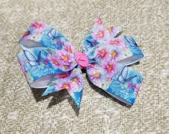 4 inches butterfly flowers pin wheel non slip alligator clip hair bow